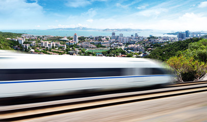 High-speed train passing through Xiamen