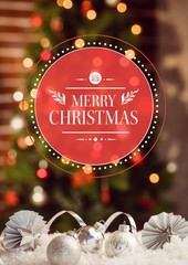 Composite image of merry christmas greetings with silver christm
