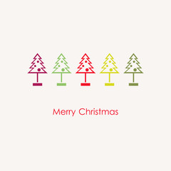 Stock vector illustration of christmas trees collection