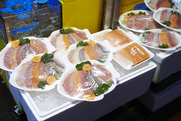 Sashimi at Korean fish market