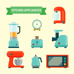 Kitchen appliances set. Vector flat illustration.