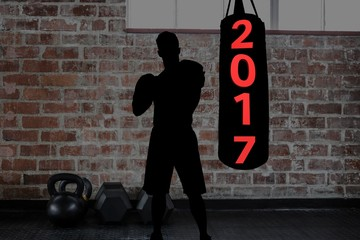 Composite image of 2017 on punching bag and silhouette of boxer