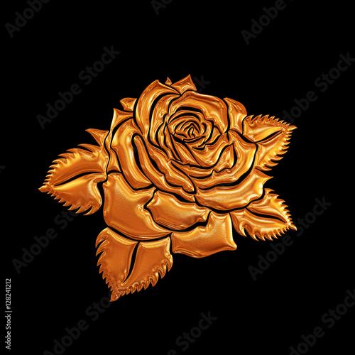Golden Rose Flower On Black Background Element For Design