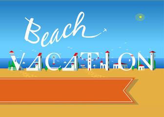 Beach vacation. Travel card