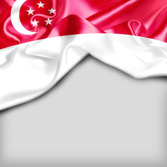 Singapore Country Flag on white background. 3d illustration
