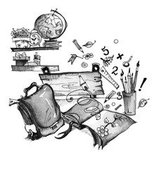 Illustration, graphic, black and white watercolor. At school theme.