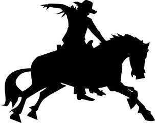 silhouette - cowboy rodeo in action
