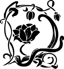 line art - flower - floral for decoration full color - black and white