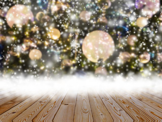 Wood table top on Christmas tree with snow effect background