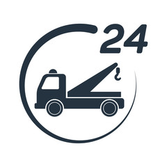 car tow service, 24 hours, truck , solated icon on white backgro