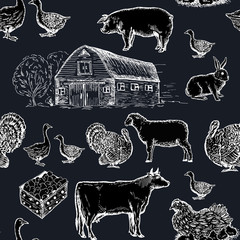 Farm animals seamless pattern chalkboard style