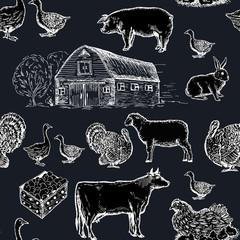 Farm animals seamless pattern chalkboard style