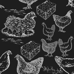 Hand drawn chicken farm seamless pattern in chalkboard style