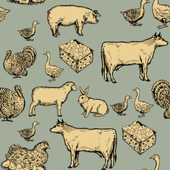 Farm animals seamless pattern cow, goose, chicken, pig, goat