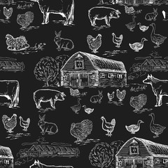 Farm animals seamless pattern. Chalkboard style