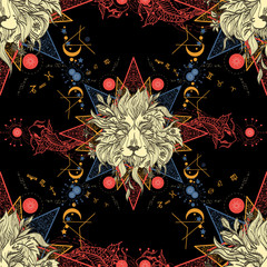 Medieval seamless pattern mystical lion and carp