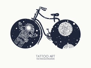 Bicycle tattoo art. Travel, adventure, outdoors, meditation