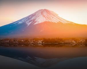 Poster Reflexion Mount Fuji reflected in Lake Kawaguchi on sunset