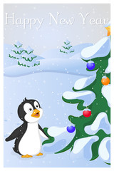 Funny and cute penguin saw Christmas Tree at the first time. Merry Christmas and Happy New year card. Christmas card in cartoon style. Vector illustration.