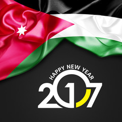 Happy New year 20107 Jordan flag. 3d illustration