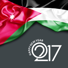 2017 Happy New year Jordan flag. 3d illustration