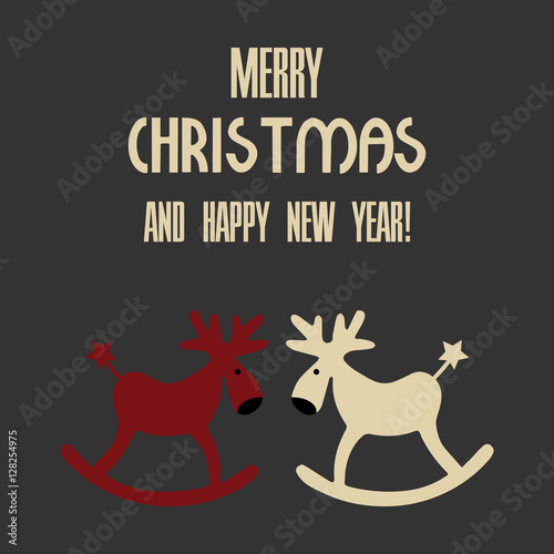 Vector illustration of a two deers with text merry christmas and happy new year