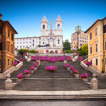 Spanish steps with azaleas at sunrise, Rome