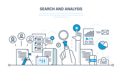 Search and analysis of information, communication, services, marketing, research.