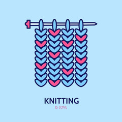 Knitting is love. Modern vector line icon of knitting. Elements - yarn, knitting needle. Outline symbol for knitting shops, clubs. Cute design element for sites. Hand made business logo.