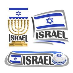Vector logo Israel, 3 isolated images: vertical banner hanukkah menorah on background israeli national state flag, symbol israel emblem star of david, israelite ensign flags, jewish cap kippah or kipa