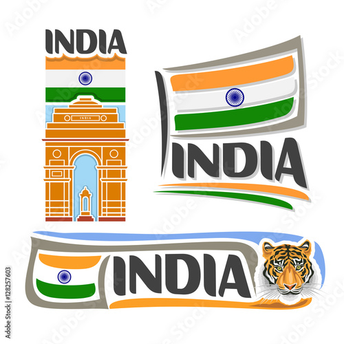 Vector Logo India 3 Isolated Images Vertical Banner Architecture