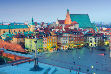 Warsaw Old Town at evening, Poland