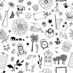 Seamless doodle pattern with random objects