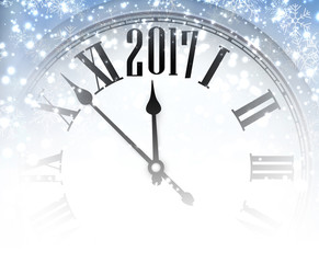 2017 winter background with clock.