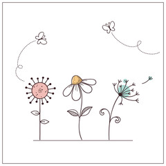 Hand drawn doodle flowers set with butterflies