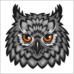 Owl Head - isolated on white.