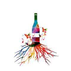 Colorful wine bottle with tree root vector illustration. Alcohol drinks and beverage background. Festive celebrations, events and party design. Winery, restaurant, wine tasting design. Bottle isolated