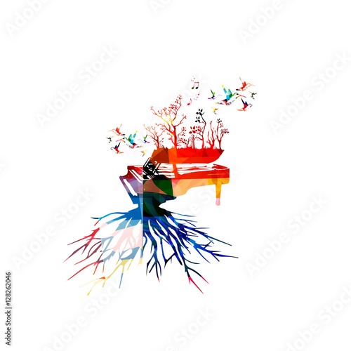 Colorful Piano With Hummingbirds Music Background Instrument Poster Notes