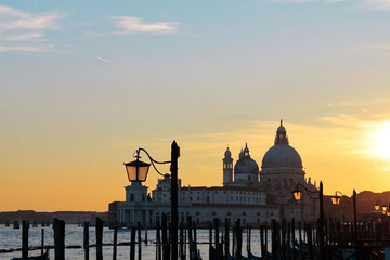 Sunset over the water in Venice, Italy