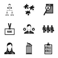 Staffing agency icons set. Simple illustration of 9 staffing agency vector icons for web