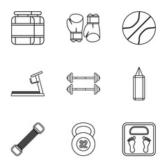Gym icons set. Outline illustration of 9 gym vector icons for web