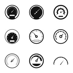 Types of speedometers icons set. Simple illustration of 9 types of speedometers vector icons for web
