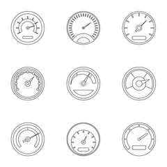 Speedometer for transport icons set. Outline illustration of 9 speedometer for transport vector icons for web
