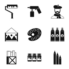 Paint drawing icons set. Simple illustration of 9 paint drawing vector icons for web