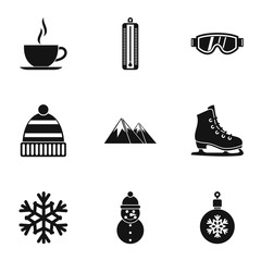 Season winter icons set. Simple illustration of 9 season winter vector icons for web