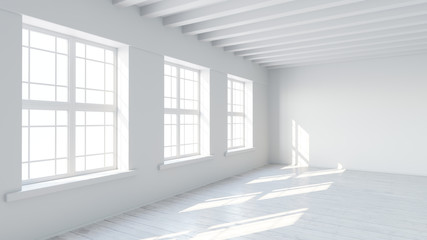 White room interior with blank wall