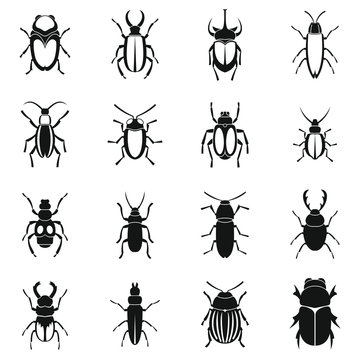Bugs icons set. Simple illustration of 16 bugs vector icons for web