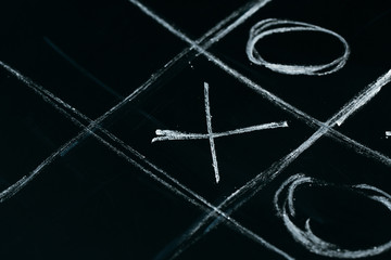 tic tac toe chalk on a school blackboard dark