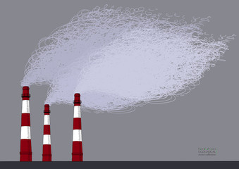 Smokestack on grey sky background. Illustration of air pollution caused by fume from factory and plant pipe, tube, trunk. Colored hand drawn ink sketch in vector. Ecological collection.