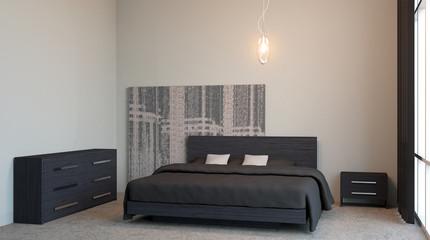 The modern design of the bedrooms. 3d rendering